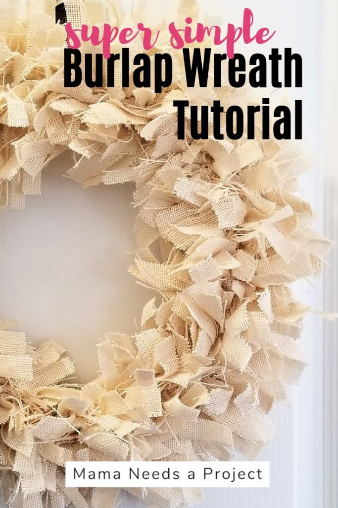 burlap rag wreath tutorial with white burlap farmhouse style wreath pinterest image