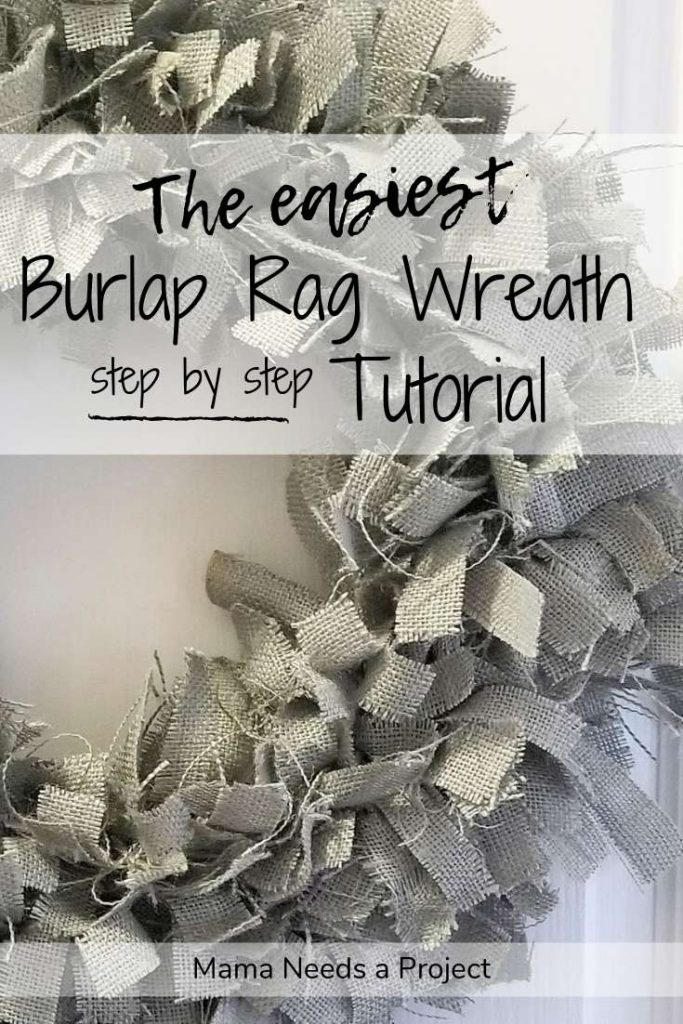 the easiest burlap rag wreath step by step tutorial, blue burlap rag wreath