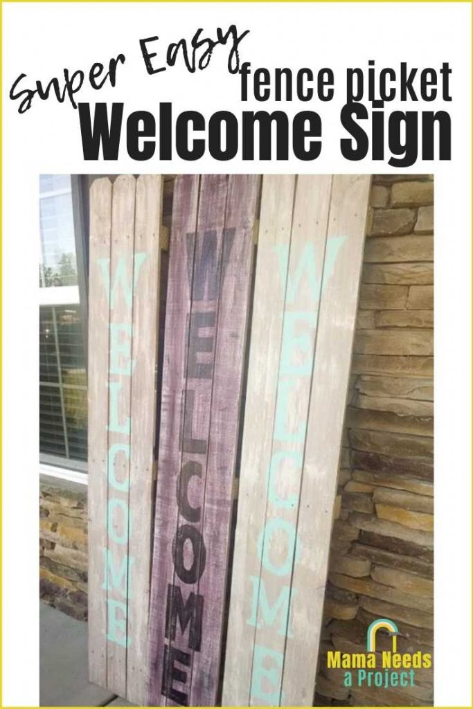 super easy fence picket welcome sign