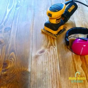 sanding diy dining room table to fix wood stain issues