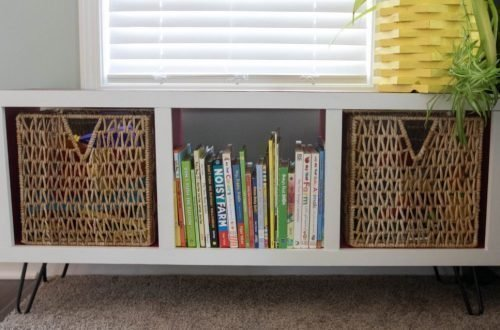 DIY modern cubby shelf woodworking tutorial updated image