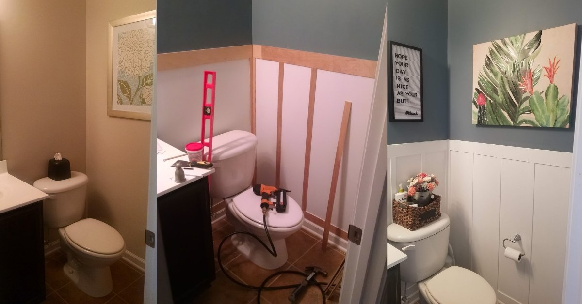 before, during and after pictures of bathroom update with diy wainscoting