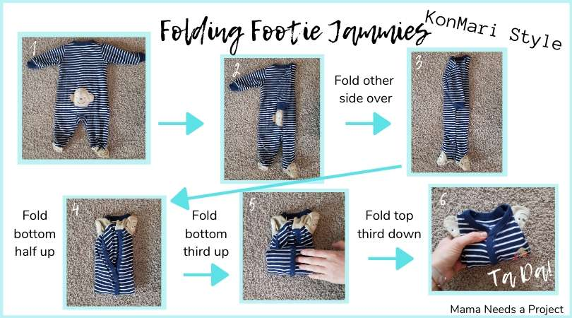 folding baby pajamas konmari style graphic
