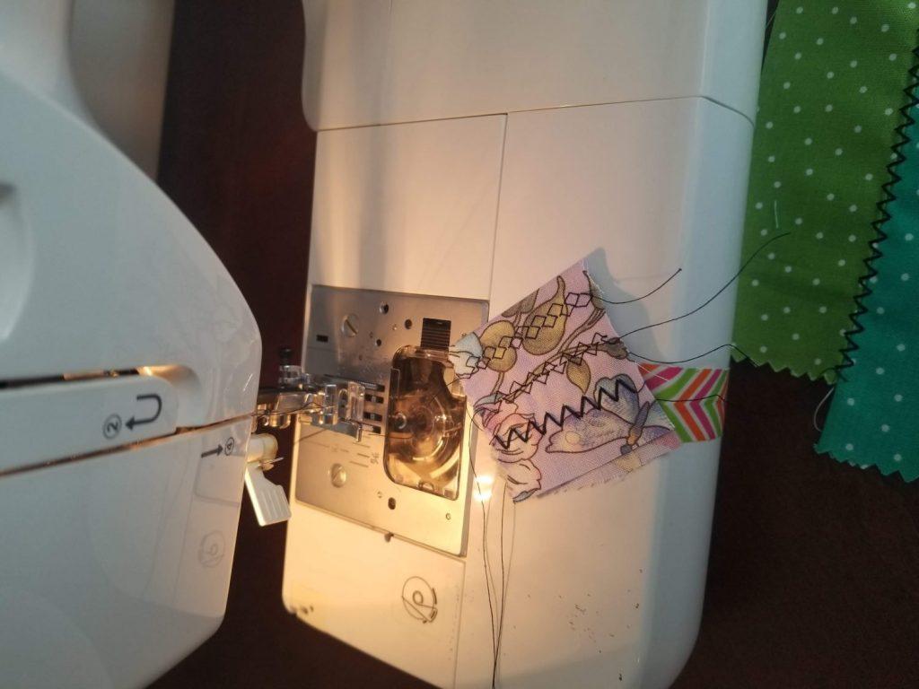 testing sewing machine decorative stitches using scrap fabric