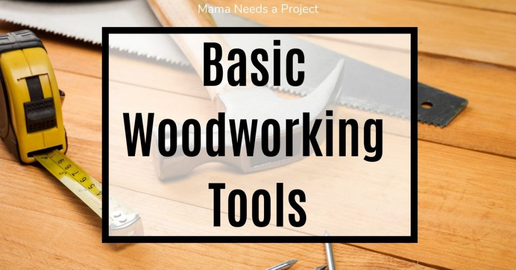 hammer, saw, tape measure, words: Basic woodworking tools