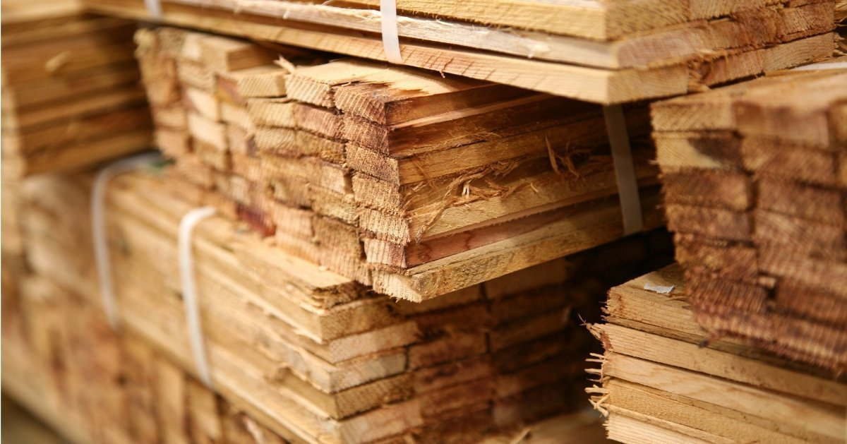 large pile of lumber wood boards