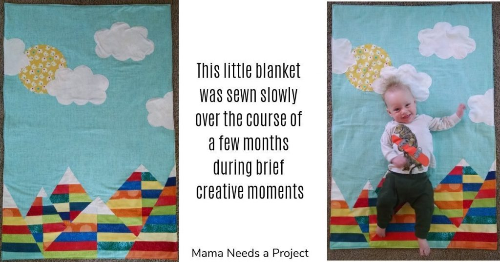 this little blanket was sewn over the course of a few months during brief creative moments
