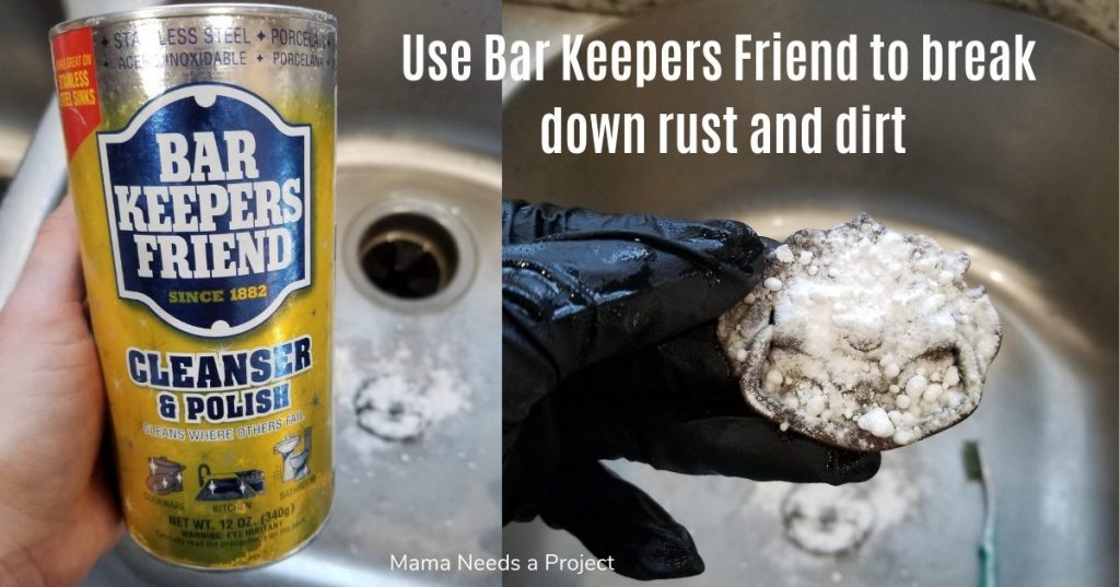 Bar Keepers Friend removed rust and dirt from antique drawer pulls