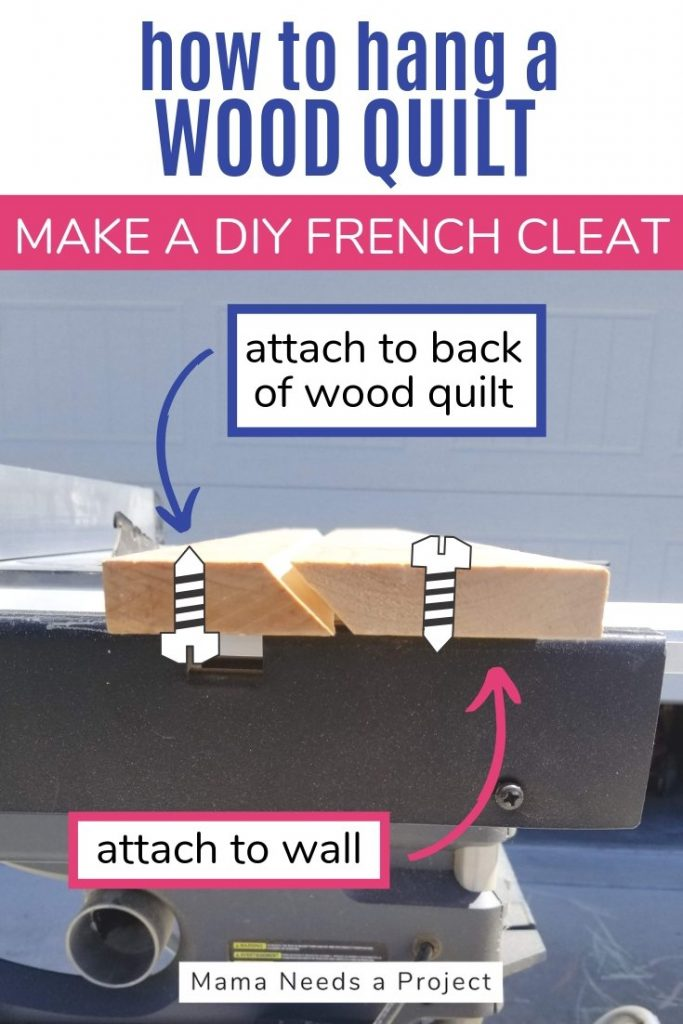 how to hang a wood quilt, make a DIY French cleat, pinterest image