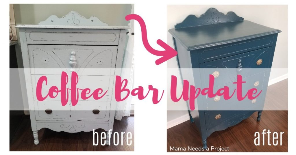 coffee bar update, before and after of a painted antique dresser