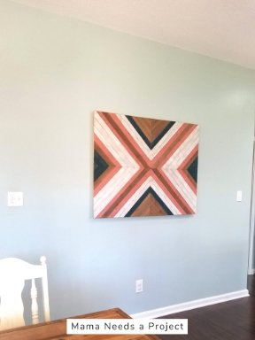 hanging big x wall quilt with french cleat