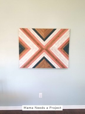 hanging big x wood quilt with french cleat