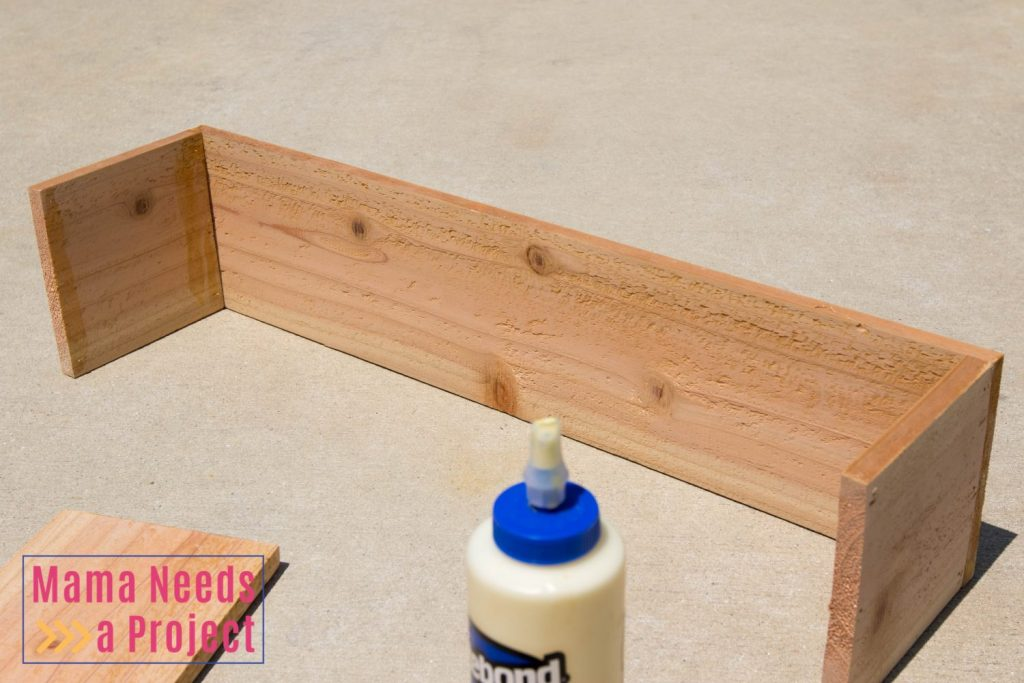 cedar wedding centerpiece box assembly pic 2