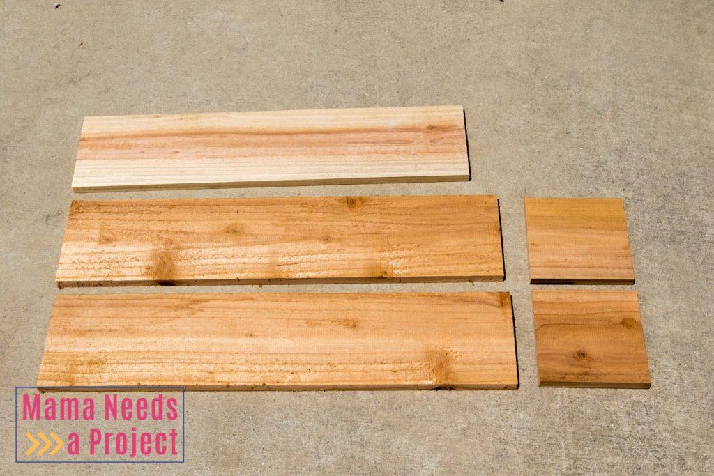 cut cedar fence picket wood for diy wedding centerpiece box