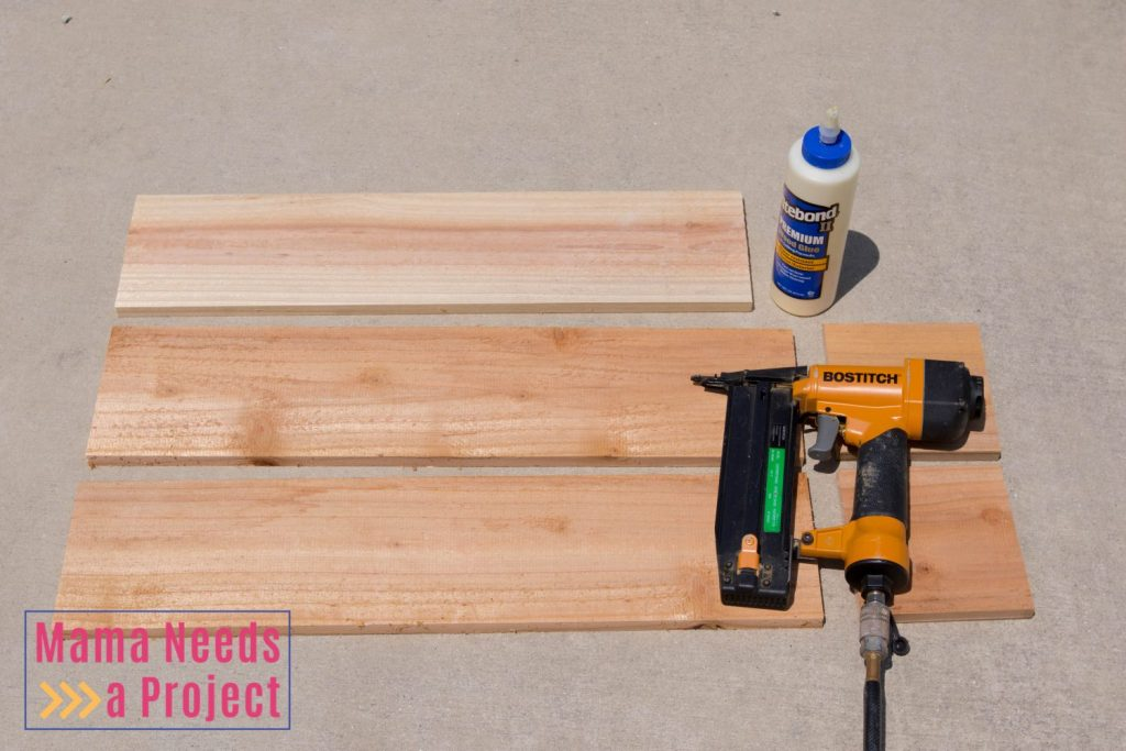 diy wedding center piece wood box supplies - cut cedar, nail gun, wood glue
