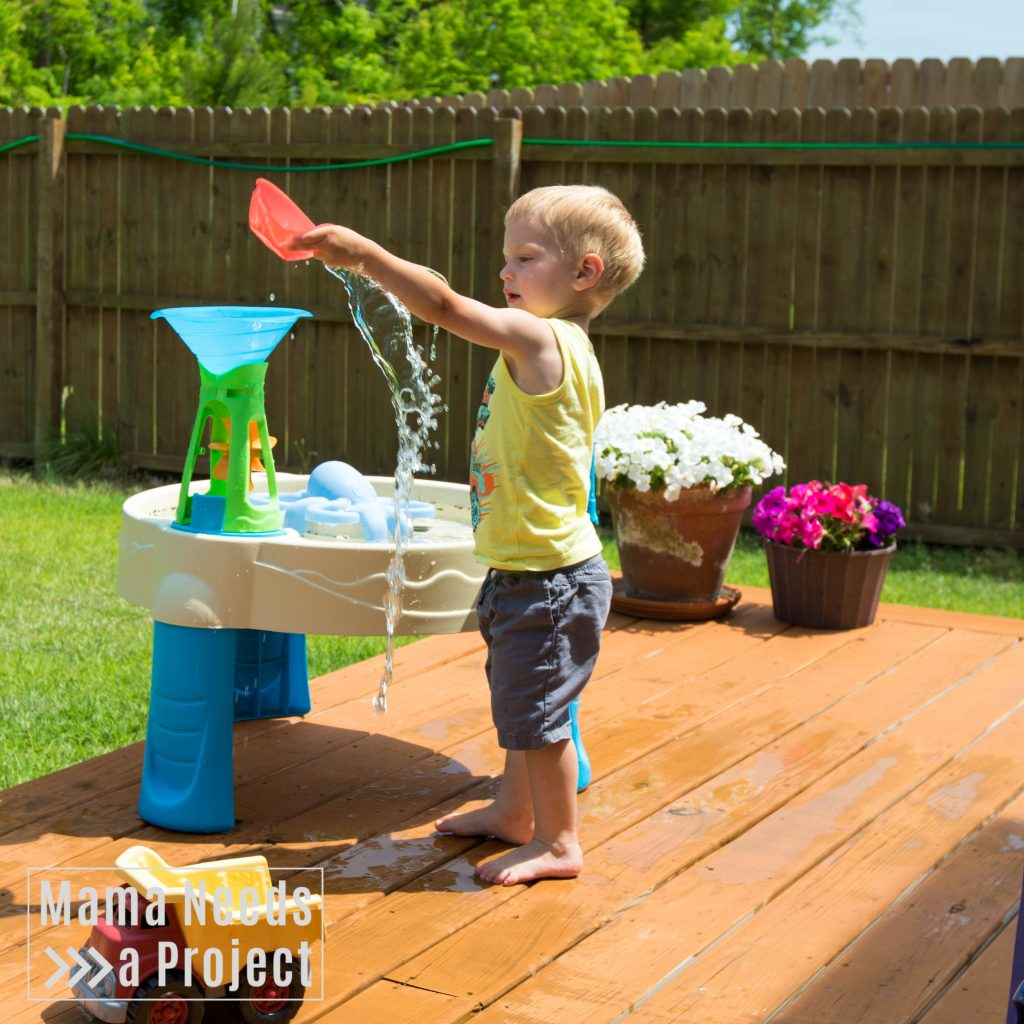 gardening with a toddler, water table