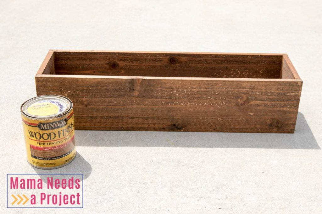 completed diy wedding centerpiece box cedar fence pickets stained medium brown rustic