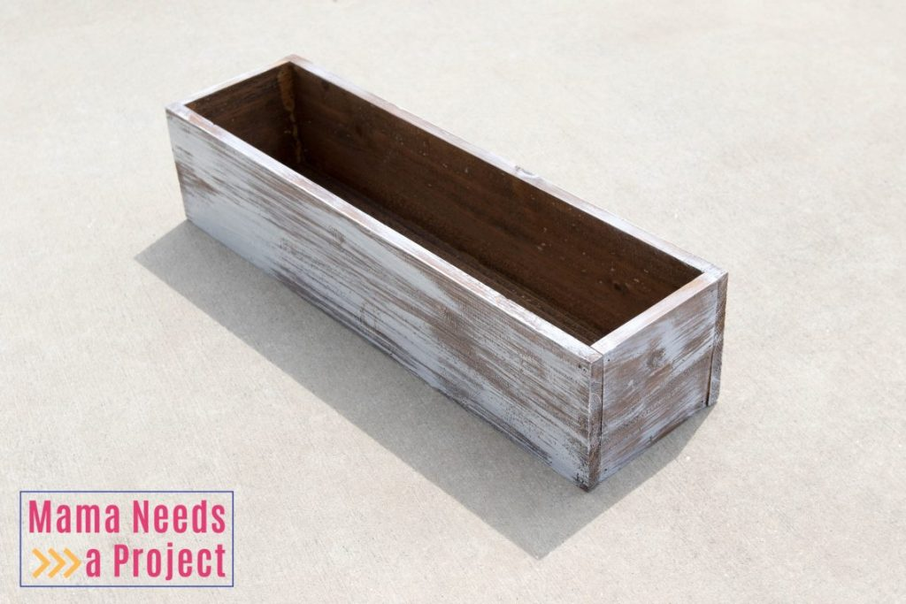 completed diy wedding centerpiece box cedar fence pickets rustic white