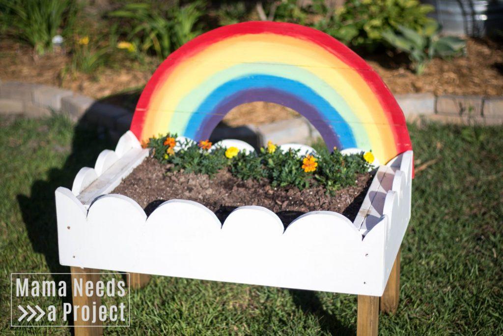 completed diy woodworking toddler flower garden