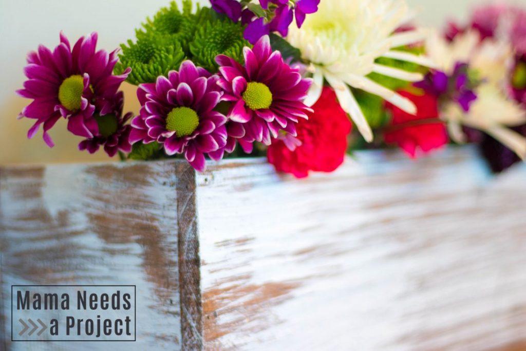 diy cedar fence picket wedding centerpiece box, painted with flwoers