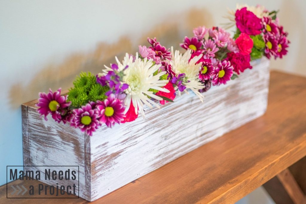 completed diy cedar fence picket wedding centerpiece flower box full box styled with flowers