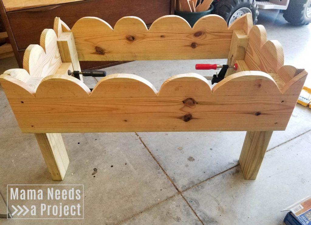 woodworking rainbow toddler garden, assemble flower box