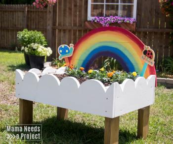 Rainbow Toddler Garden, Rasied bed garden for kids, woodworking tutorial