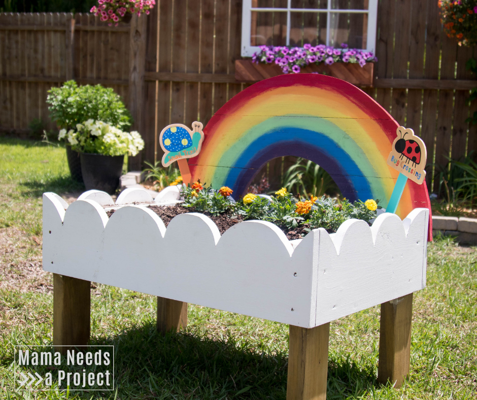 Rainbow Toddler Garden, Rasied bed garden for kids, woodworking tutorial