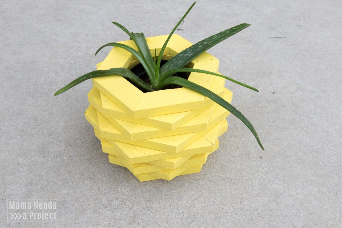 diy pineapple planter woodworking tutorial, aloe vera planter, featured image