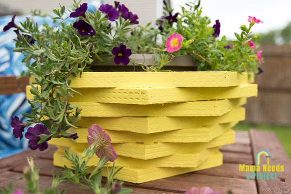 yellow stacked hexagon flower pot