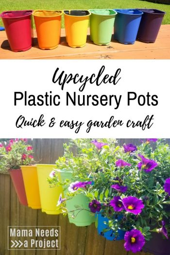Pinterest image of painted plastic nursery pots, quick and easy garden craft
