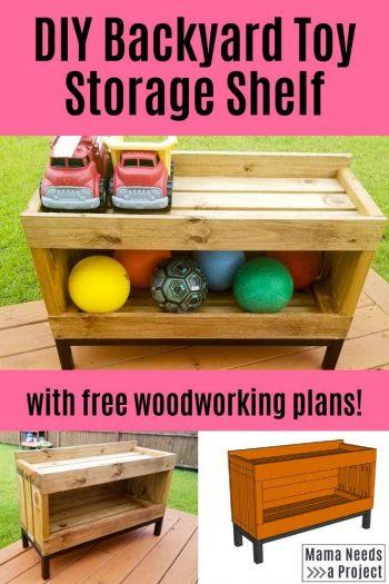 DIY Backyard Toy Storage Shelf Pin