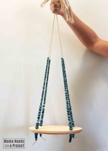 diy hanging plant shelf with colorwashed beads