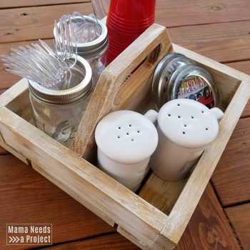 diy square caddy with dining items inside