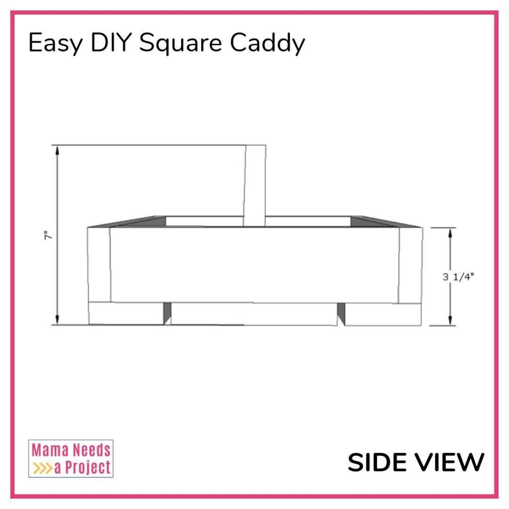 side dimensions for easy diy square caddy