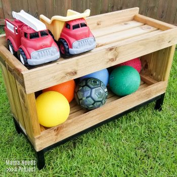 outdoor toy storage shelf, open toy shelving for toddlers with outdoor toys