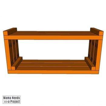 add top trim to outdoor toy storage shelf