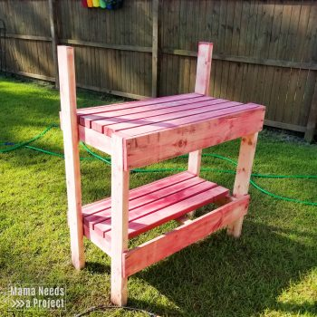 sanded down garden potting bench