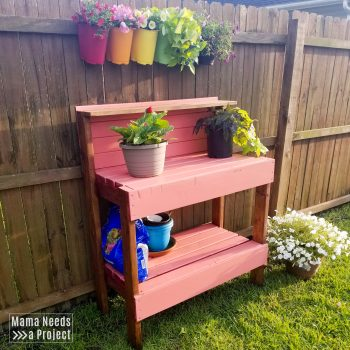 2x4 pink potting bench with flowers