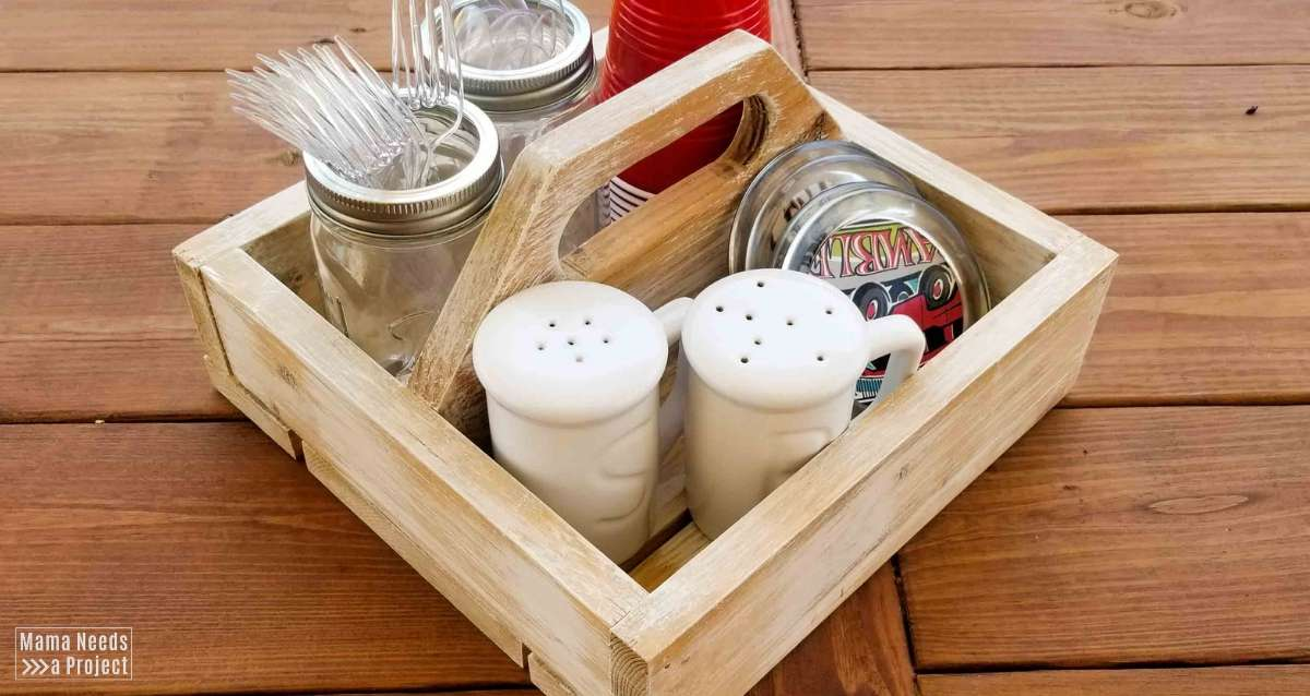 Easy diy wood square caddy with handle