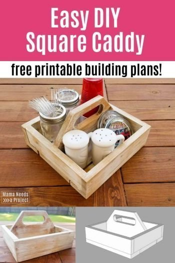 easy diy square caddy free printable building plans pin