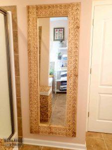 diy full length boho mirror with mudcloth wood burning design on wood frame