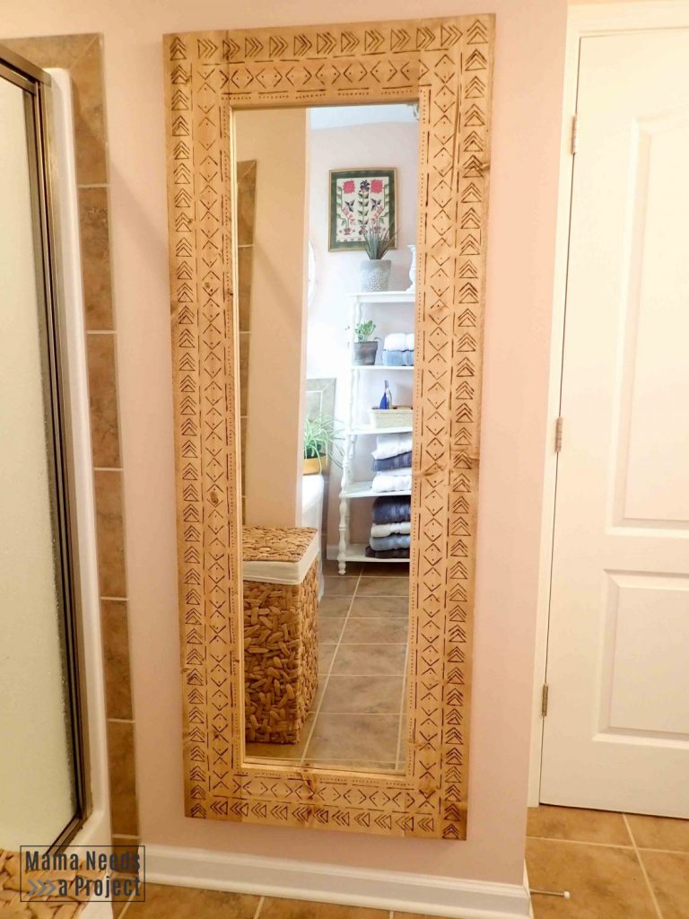 full length wood frame diy boho mirror with mudcloth design