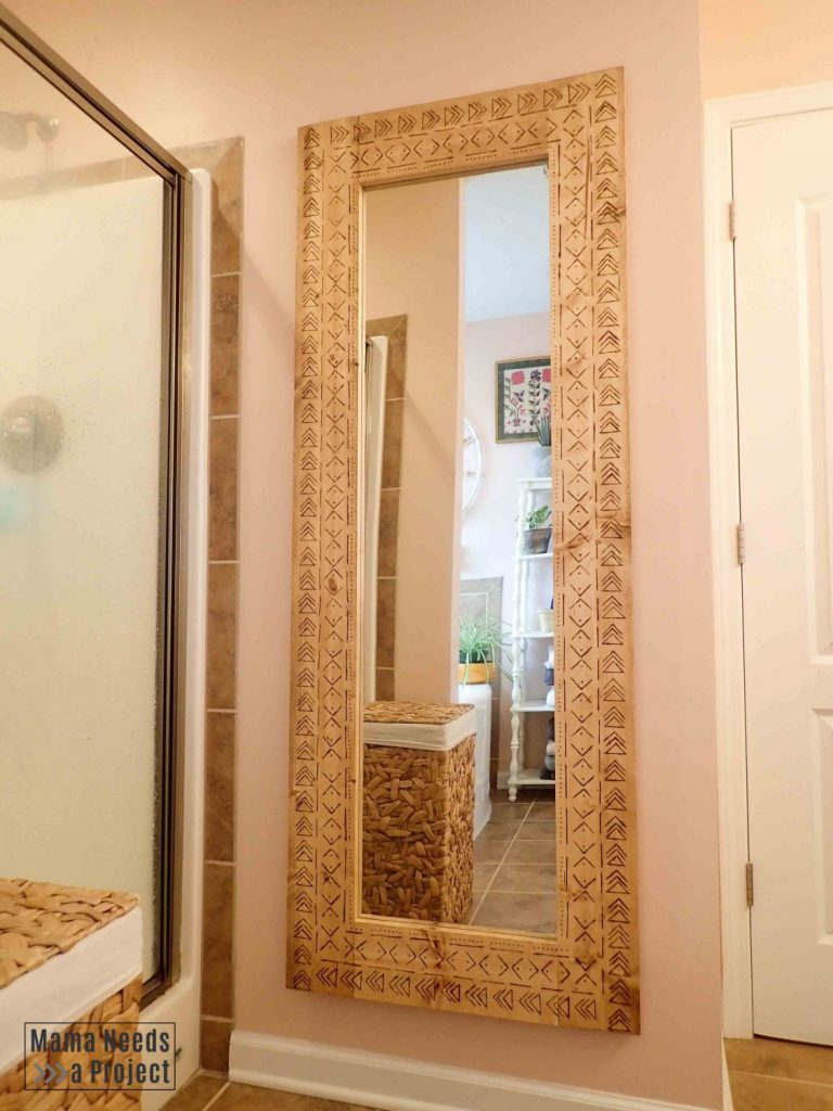 diy boho full length mirror hanging in pink bathroom
