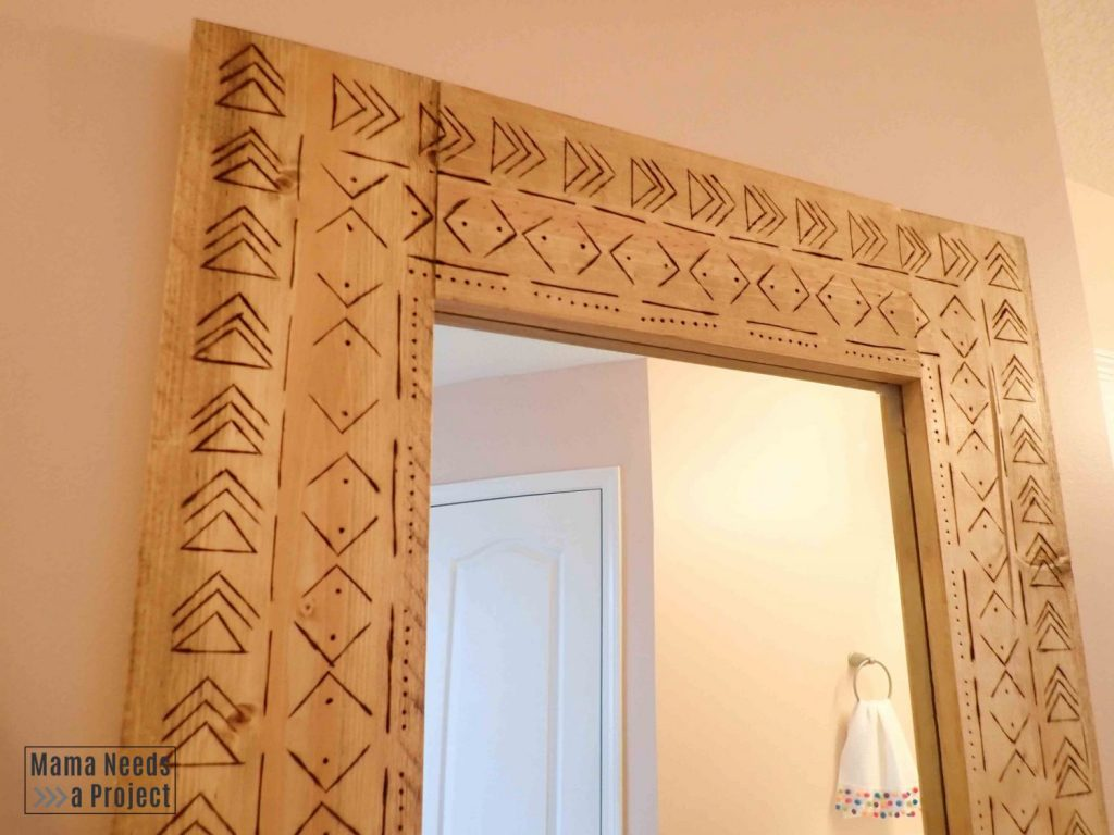 close up of mudcloth design on diy boho full length mirror