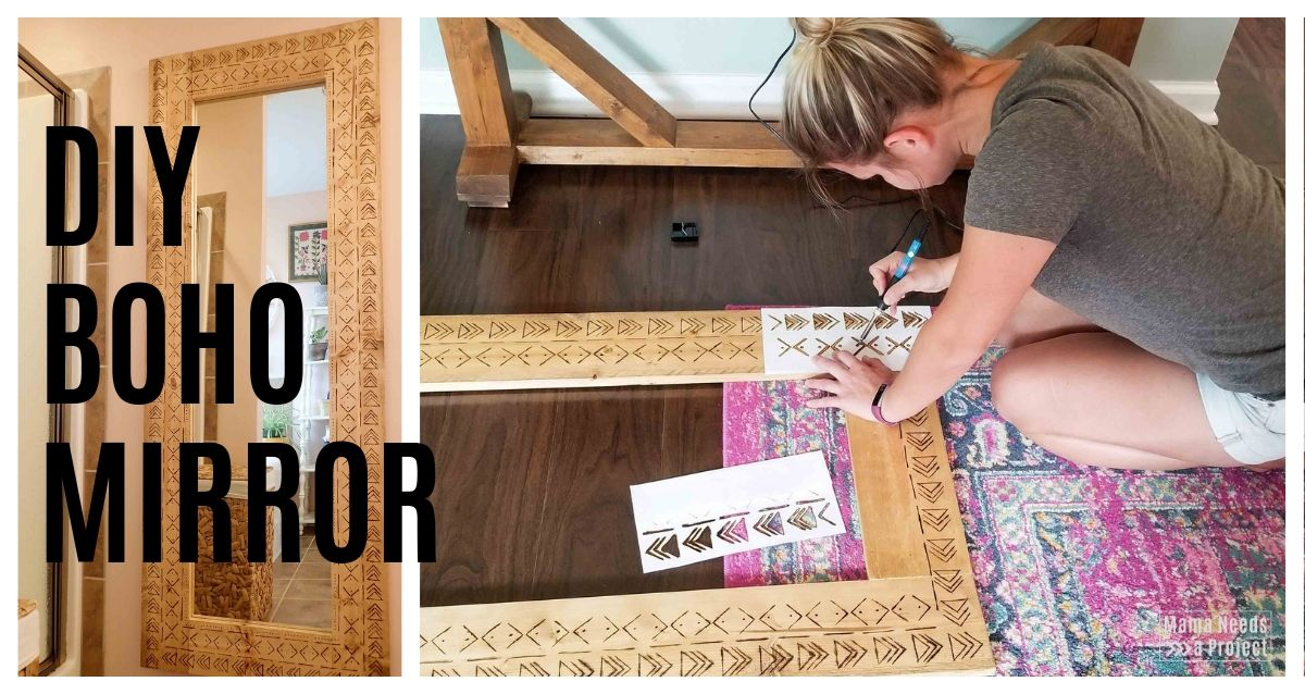 diy boho mirror tutorial and plans