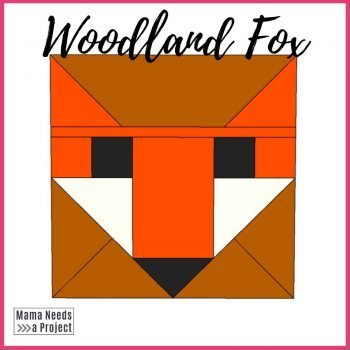 fancy fox wood quilt block - woodland style