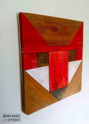 fancy fox wood quilt block side view