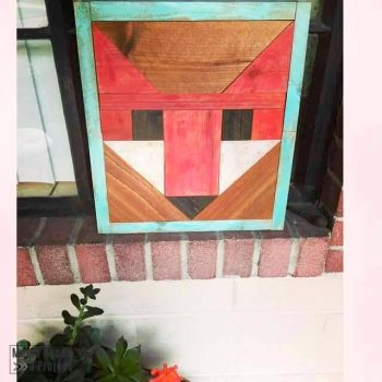 fancy fox wood quilt with blue frame