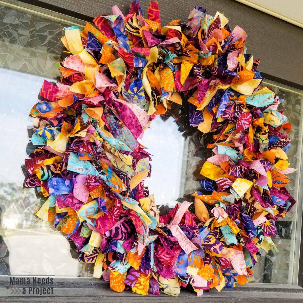 colorful fabric rag wreath